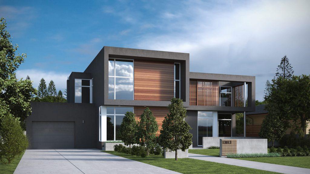 Rendering evolution rendering fotorealistici video e for A forma di casa con piano piano unico