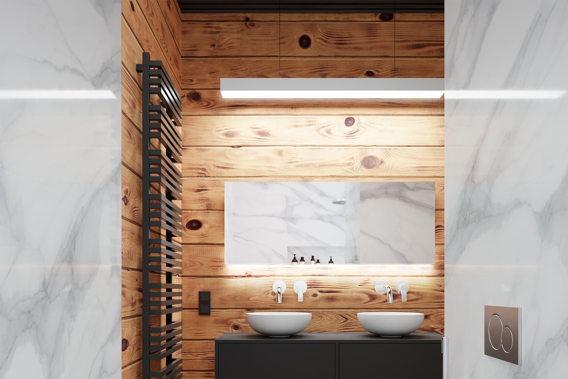 Rendering fotorealistico interno: ristrutturazione del bagno